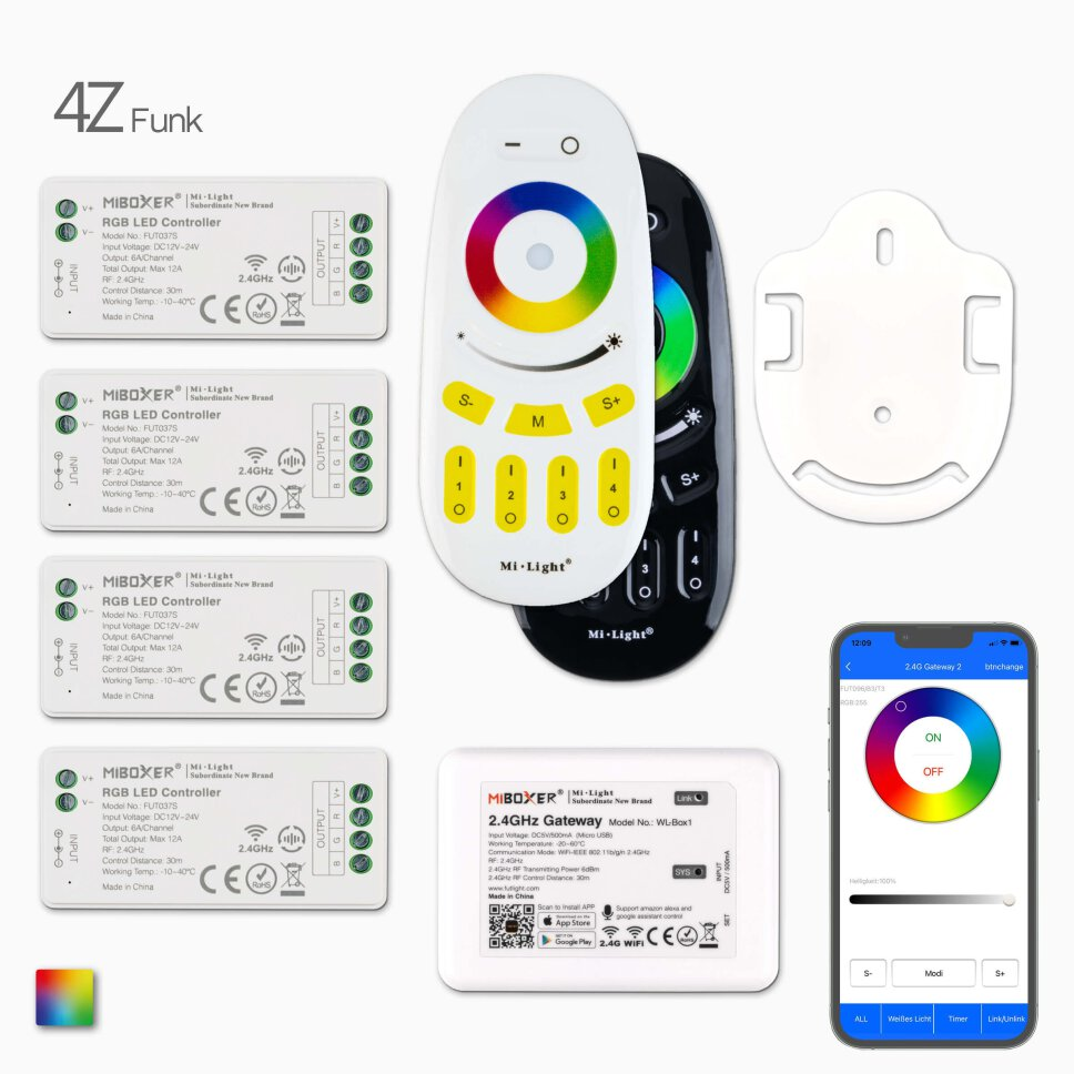 2,4G 4-Zonen RGB LED Funk-Controller Set
